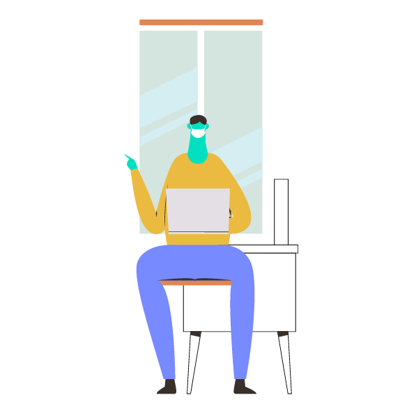 Illustration of a person with a laptop