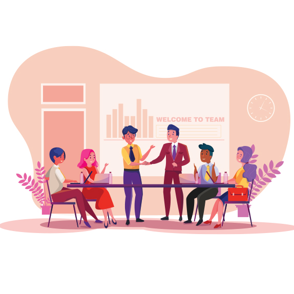 illustration of a team meeting
