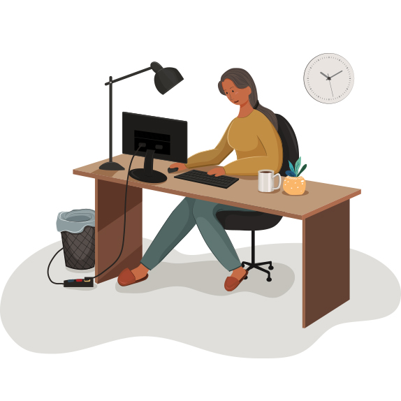 illustration of a woman working with a computer